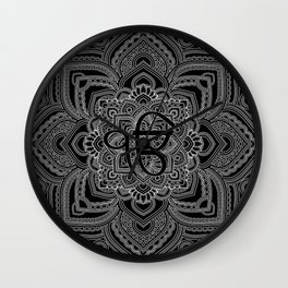 Black and white Ek Onkar / Ik Onkar  in mandala Wall Clock