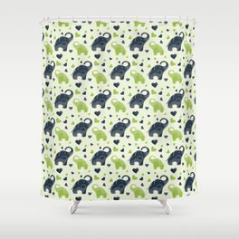 Cute blue and green elephant pattern Shower Curtain