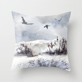 Soaring Above Sandy Beaches Against Stormy Skies Throw Pillow