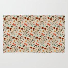 Colorful Hipster Elements Pattern on beige Rug