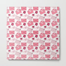 Snail mail love letter pattern in pink Metal Print