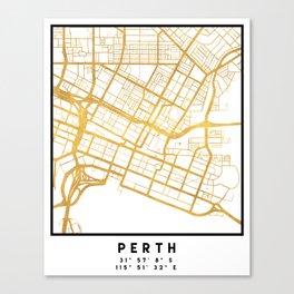 PERTH AUSTRALIA CITY STREET MAP ART Canvas Print