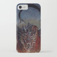 smaug iPhone & iPod Cases featuring Smaug by Cécile Pellerin
