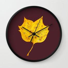 Fancy Watercolor Yellow Autumn Leaf Wall Clock