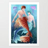 kuroko Art Prints featuring Kagami & Kuroko by kvei