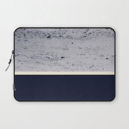 Navy Blue Pale Yellow on Navy Blue Concrete #1 #decor #art #society6 Laptop Sleeve
