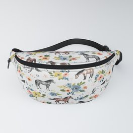 Horses and Flowers, Floral Horses, Western, Horse Art, Horse Decor, Gray Fanny Pack