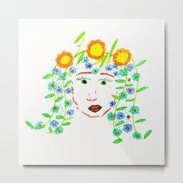 Girl with flowery hair by Elisavet Metal Print
