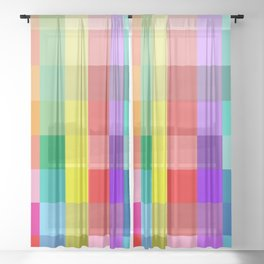 Colorful Squares Sheer Curtain