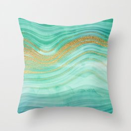 Ocean Blue And Green Mermaid Glamour Marble I Throw Pillow