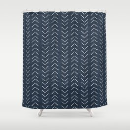 Mud Cloth Big Arrows in Navy Shower Curtain