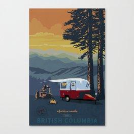 Retro Travel BC Camping Scene Poster Canvas Print