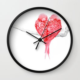 Red Heart Birds Love Wall Clock