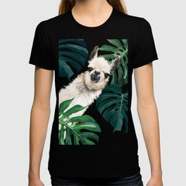Sneaky Llama with Monstera T-shirt