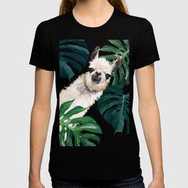 Sneaky Llama with Monstera T-shirt