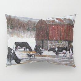 Holstein Dairy Cows in Snowy Barnyard; Winter Farm Scene No. 2 Pillow Sham