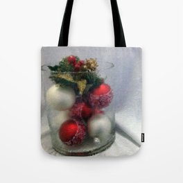 Red and White Ornaments Tote Bag