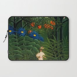 'Woman walking amid Tropical Blue Cornflowers in an exotic forest' by Henry Rousseau Laptop Sleeve