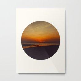 Mid Century Modern Round Circle Photo Graphic Design Orange Sunset Above Beach Metal Print