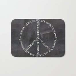 Music peace on chalkboard Bath Mat
