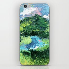 Gunnison: a vibrant acrylic mountain landscape in greens, blues, and a splash of pink iPhone Skin