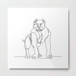 American Bully Continuous Line Metal Print