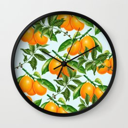 Cute Oranges Print on Blue Background Wall Clock