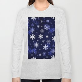 Dark Blue Snowflakes Long Sleeve T-shirt