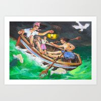 rowing Art Prints featuring Rowing  by Piubeniart