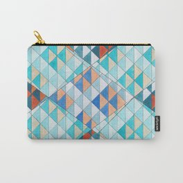 Triangle Pattern No.10 Shifting Turquoise and Orange Carry-All Pouch