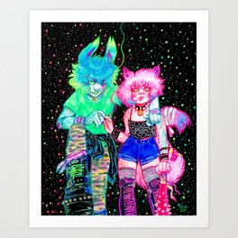 Bunny and Kitty Art Print