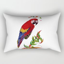 red parrot with rainbow leaves Rectangular Pillow