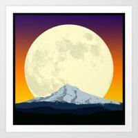 Moon Rising Over Mountain Purple Art Print