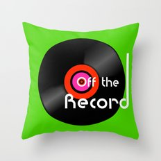 Off The Record - Black Throw Pillow