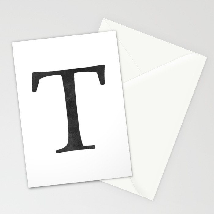 Letter T Initial Monogram Black and White Stationery Cards