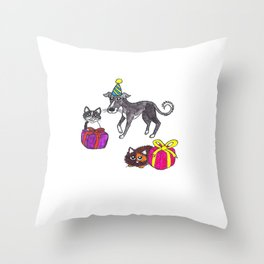 Pet party Throw Pillow