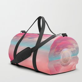 """Rose quartz sky on beach shore"" Duffle Bag"