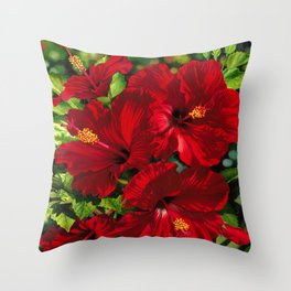 Red Hibiscus 18 Throw Pillow