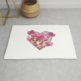 Heart Shaped with Flowers Digital Collage Rug