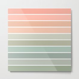 70s Stripe - pastel pink and mint, spring, pink stripes, desert, boho, dorm decor Metal Print