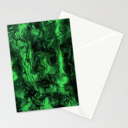Nervous Energy Grungy Abstract Art Mint Green And Black Stationery Cards