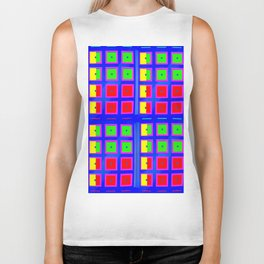 Digital Abstract with red squares on blue Biker Tank