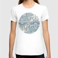 bedding T-shirts featuring Blue & Tan Art Nouveau Pattern by micklyn