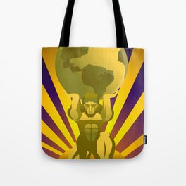 golden atlas holding the globe Tote Bag