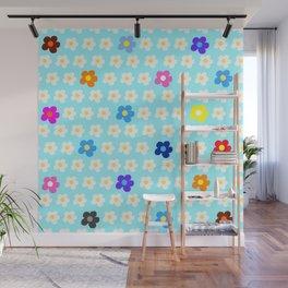 Flower Power Pattern on light blue background Wall Mural