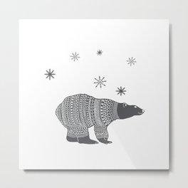 Polar bear - Animal watercolor illustration Metal Print