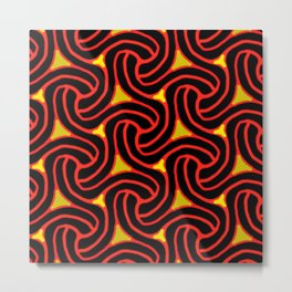 Red and Black Knot Pattern Metal Print
