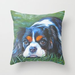 Beautiful Tricolour Cavalier King Charles Spaniel Dog Painting by L.A.Shepard Throw Pillow