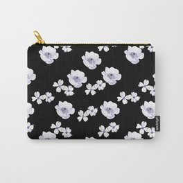 Flowers - White and Lilac Carry-All Pouch