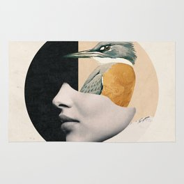 collage art / bird Rug